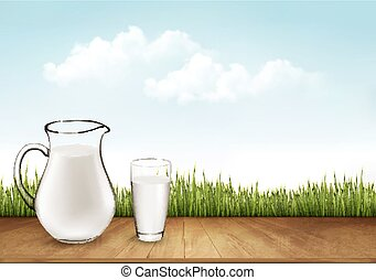Natural Whole Milk In Jug And Glass isolated On Nature Background. Vector