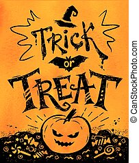 Trick or Treat Halloween poster with pumpkin and candies on...