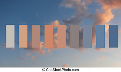 Texture sky and clouds at sunset, colour palette swatches