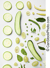 different green vegetables