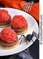 cookies on Halloween - bloody brains out on the marzipan...