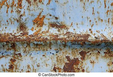 Błękitny, zardzewiały, mettalic, powierzchnia, tło