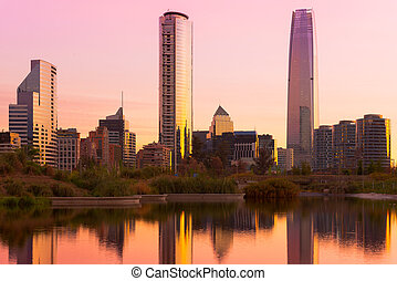 Santiago de Chile - Skyline of buildings at Las Condes...