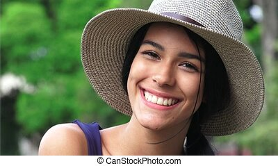 Cute Happy Smiling Teen Girl With Hat