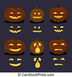 Halloween Pumpkins on Dark Background - Set of Carved Scary...
