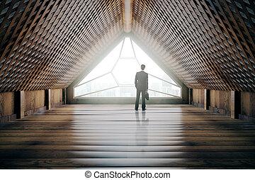 Businessman in creative wooden interior - Businessman...