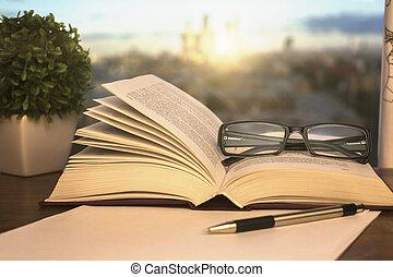 Open book closeup