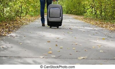 girl with suitcase walking down the path in the Park - The...