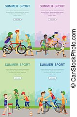Children Going in for Sport Web Banner Poster Set - Summer...