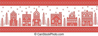 Winter wonderland town - Scandinavian style and Nordic...