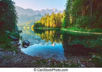 Eibsee - Fantastic day on mountain lake Eibsee, located in...