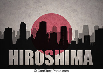 abstract silhouette of the city with text Hiroshima at the...