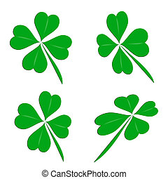 Four leaf clover group on a white background