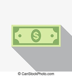 Dollar icon. Vector illustration. - Money icon in flat style...