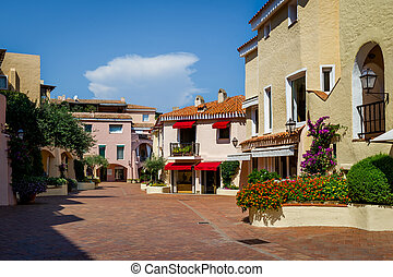 Porto Cervo old town central square with traditional...