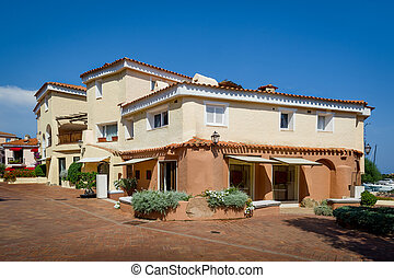 Porto Cervo old town streets with beautiful traditional...