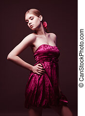 Attractive young woman wearing on pink dress - Attractive...