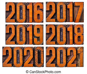 2016, 2017, 2018, 2019, 2020 and 2021 year set - isolated...