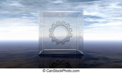 gear wheel in glass cube on reflective surface - 3d rendering
