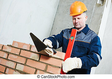 construction mason worker bricklayer - Bricklaying...