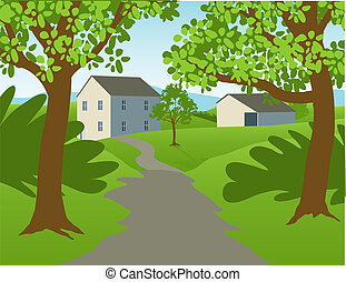 Countryside Landscape - Illustration of a country scene with...