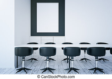 Table, chairs and empty picture frame - Front view of white...