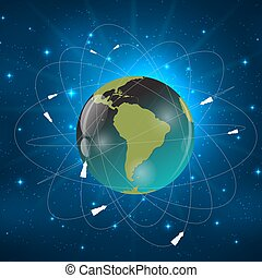 Earth with Satellites. View from Space. Vector Illustration...