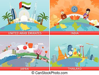 Vector Illustration of Welcome to Japan, Thailand, India, UAE ...