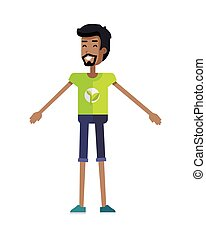 Young Ecologist Character Vector Illustration - Smiling man...