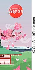 Japan Travelling Banner. Japanese Landmarks