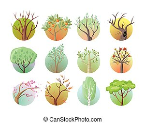 Set of Tree Round Icons - Set of tree round icons Tree with...