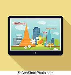 Thailand Travelling banner. Thai Landmarks. Tablet -...