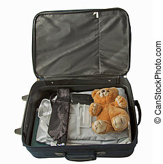 Suitcase with teddy - Suitcase of a man, with tie and shirt,...