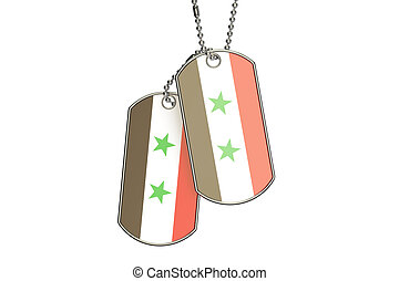 Syrian Dog Tags, 3D rendering isolated on white background