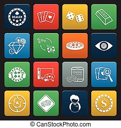 gambling, casino 16 icons universal set for web and mobile...