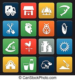 16 icons universal set for web and mobile flat