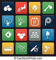 farm and gardening 16 icons universal set for web and mobile...