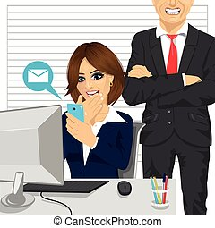 secretary woman chatting with smartphone while angry boss...