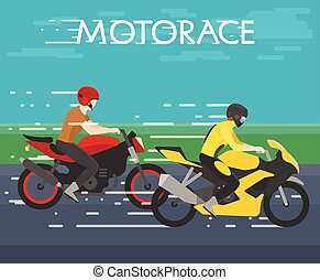 vector illustration of two motorcyclists racing on motorace, competition, flat style