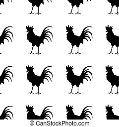 Black silhouette of the cock on white background.
