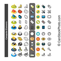 Set of icons in different style - isometric flat and otline,...