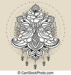Freehand drawing of roses in east style