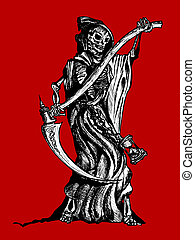 Death - Original pen and ink illustration of the Grim Reaper