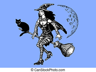 Witch on a broom - Illustration of a witch and her cat...