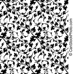 Vector black and white seamless floral pattern.