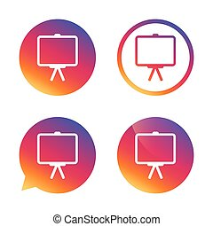 Presentation billboard sign icon. PPT symbol. - Presentation...
