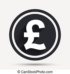 Pound sign icon. GBP currency symbol. Money label. Circle...