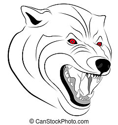 Wolf with a grin in the form of a tattoo