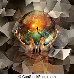 Crystal ball - Glass ball in hands with abstract background