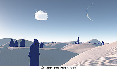 figures in blue robes in the desert
